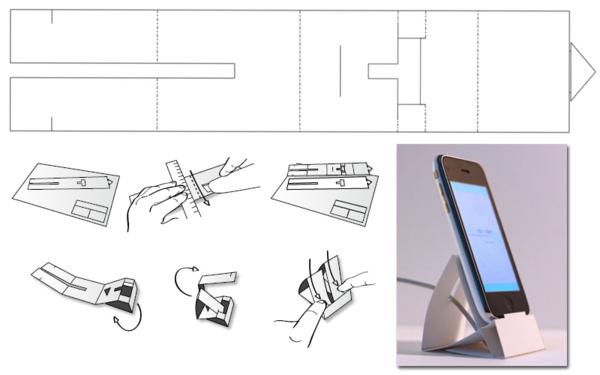 Схема бумажной подставки для телефона